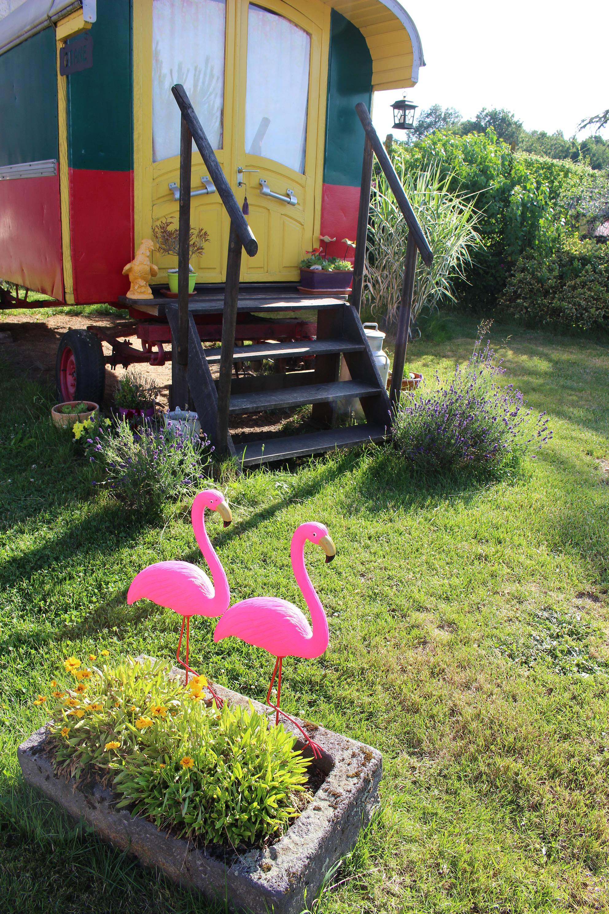Roulotte Gitane et Flamingos